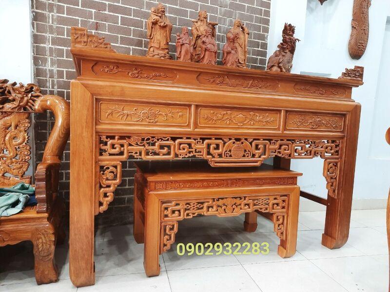 Bộ bàn thờ mẫu như ý gỗ gõ đỏ 1m97
