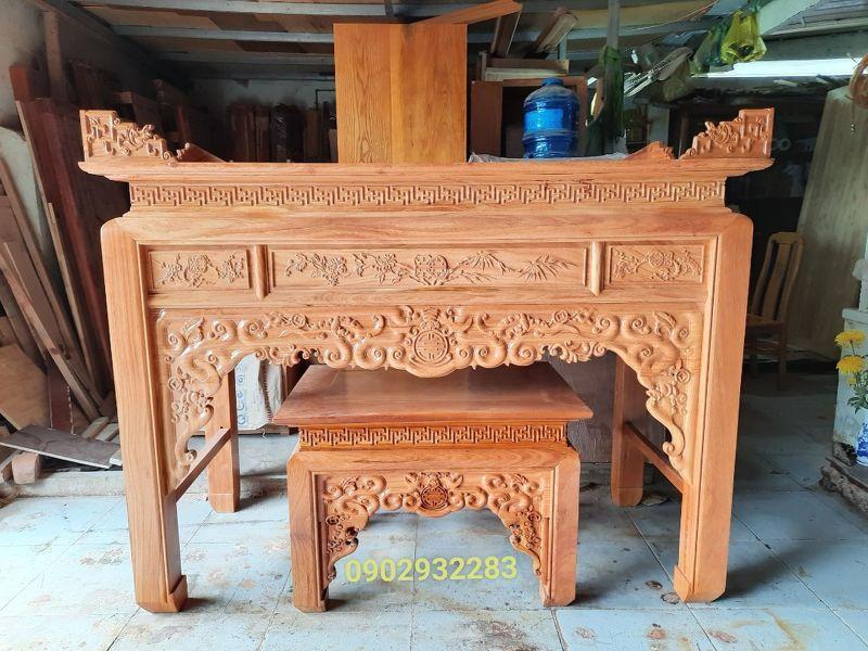 Bộ bàn thờ mẹ con gỗ gõ đỏ 1m76, MS 15.8