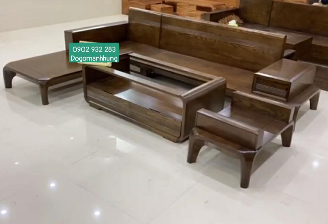 Bộ sofa góc L gỗ sồi 1m8 x 2m MS 11.8