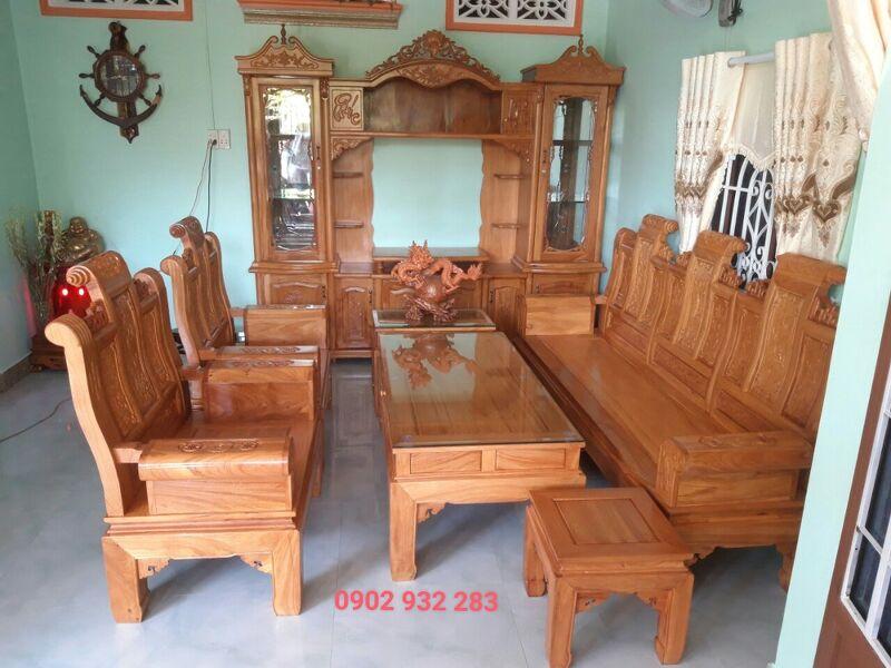 Bộ bàn ghế phòng khách mẫu âu á cuốn thư gỗ gõ đỏ bộ lớn ghế dài 2m45