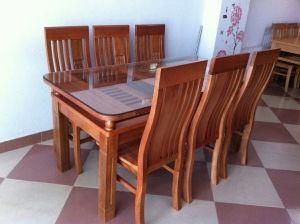 Bộ bàn ăn 2 tầng gỗ sồi phun màu 80cmx1m6 kèm 6 ghế