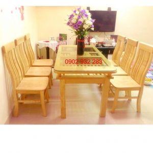Bàn ăn 6 ghế gỗ sồi 80cmx1m6 BA 2T