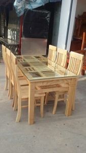 Bộ bàn ghế ăn gỗ sồi Nga, mẫu khay chè
