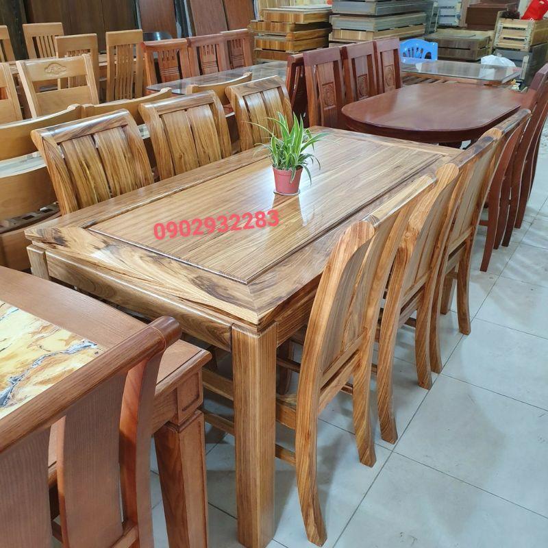 Bộ bàn ăn gỗ hương xám 6 ghế 80cm x 1m6 MS 10.7