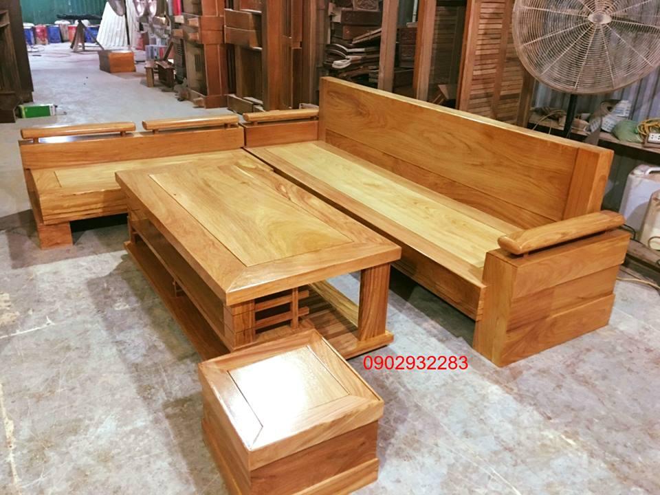 Sofa gỗ gõ đỏ mẫu góc L 2m5 x 2m1