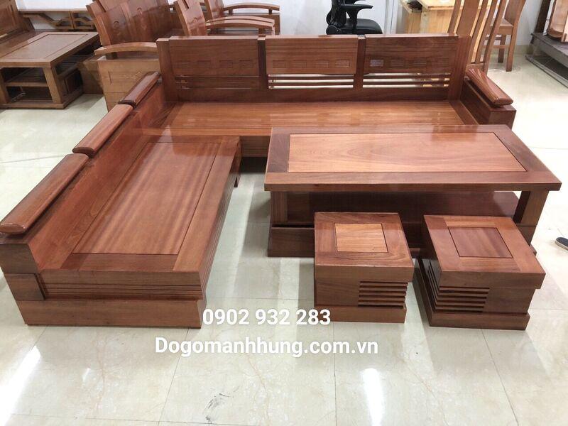 Sofa góc gỗ xoan đào 2m x 1m8 mẫu tay trứng