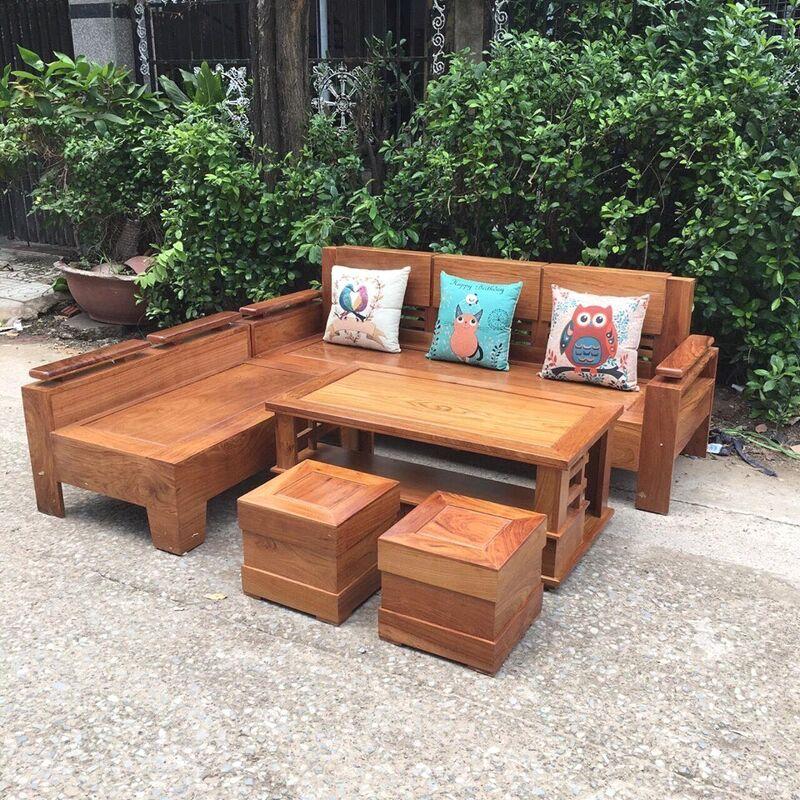 Bộ sofa góc gỗ hương 2m x 1.8m