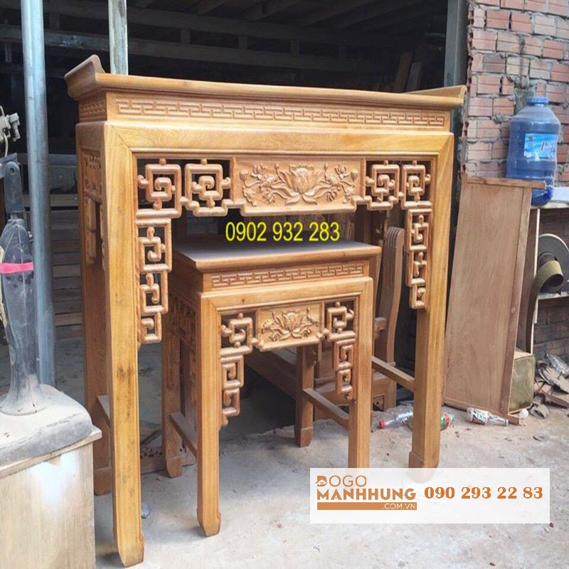 Bộ bàn thờ gỗ gõ đỏ mẫu triện sen 1m54