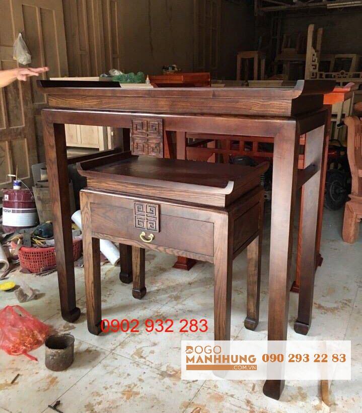 Bộ bàn thờ mẹ con gỗ sồi mẫu đơn giản 1m07