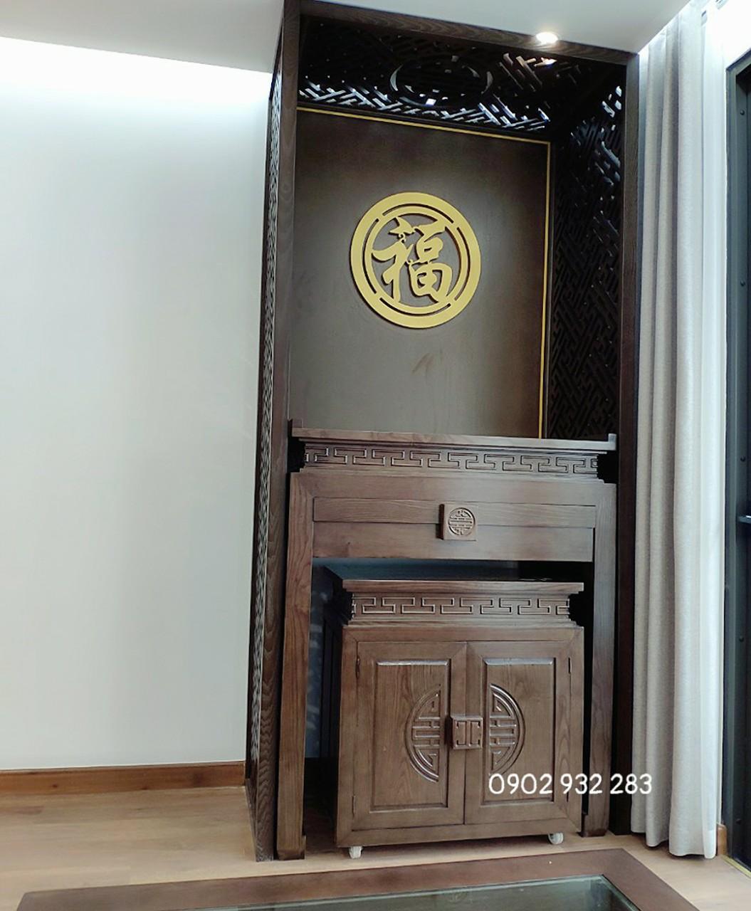 Bộ bàn thờ gỗ sồi 1m07 mẫu hiện đại M004