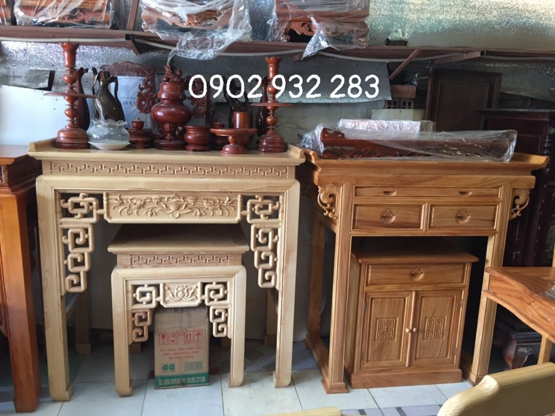 Bộ bàn thờ mẹ con gỗ sồi màu cánh gián 1m07