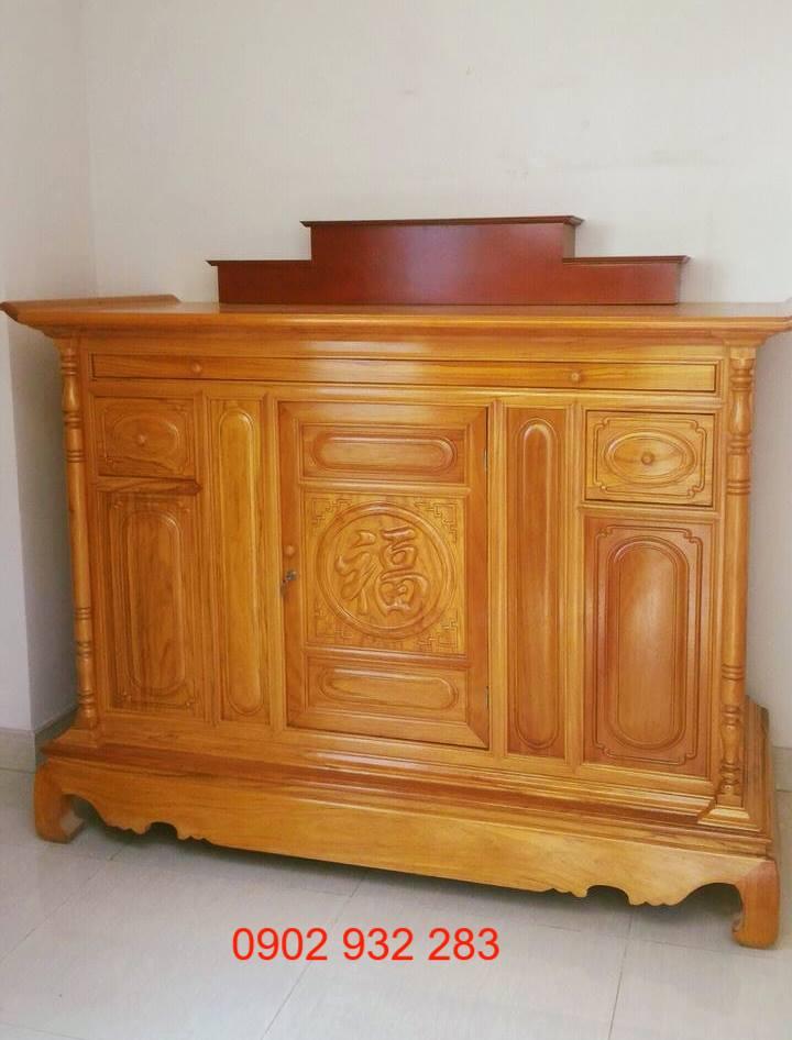 Tủ thờ gỗ gõ đỏ mẫu đơn giản 1m76