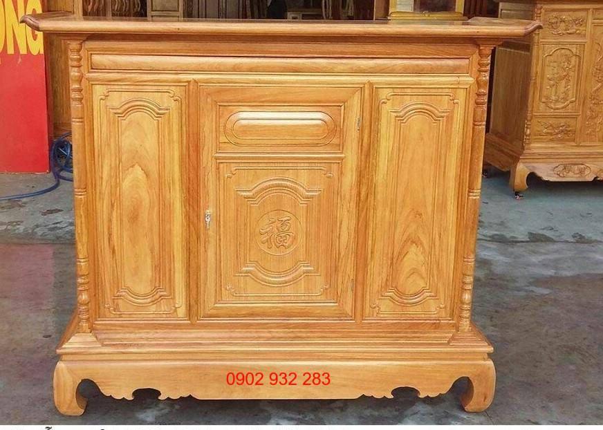 Tủ thờ gỗ gõ đỏ mẫu đơn giản 1m54