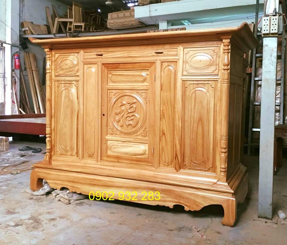 Tủ thờ gỗ gõ mẫu đơn giản 1m27