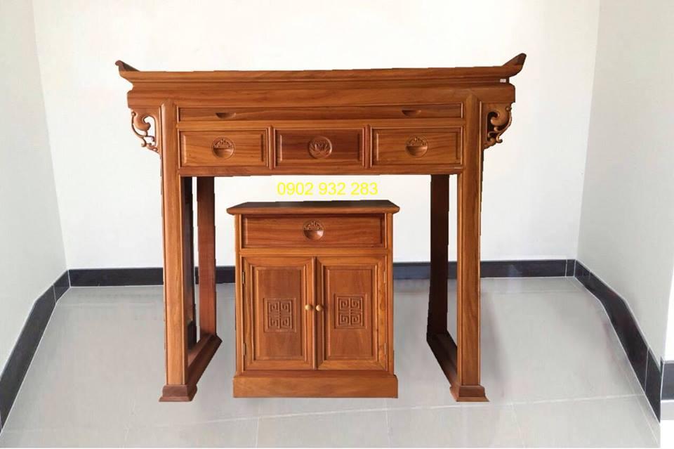 Bộ bàn thờ gỗ gõ đỏ mẫu hiện đại 1m54