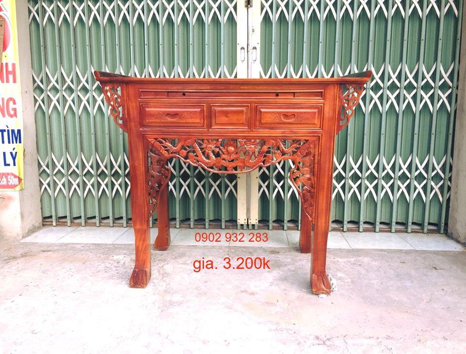 Bàn thờ gia tiên 1 tầng 1m27 gỗ tràm