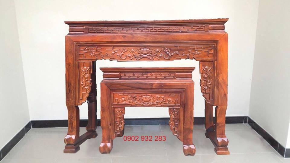 Bàn thờ cặp đôi gỗ muồng 1m54- bt05