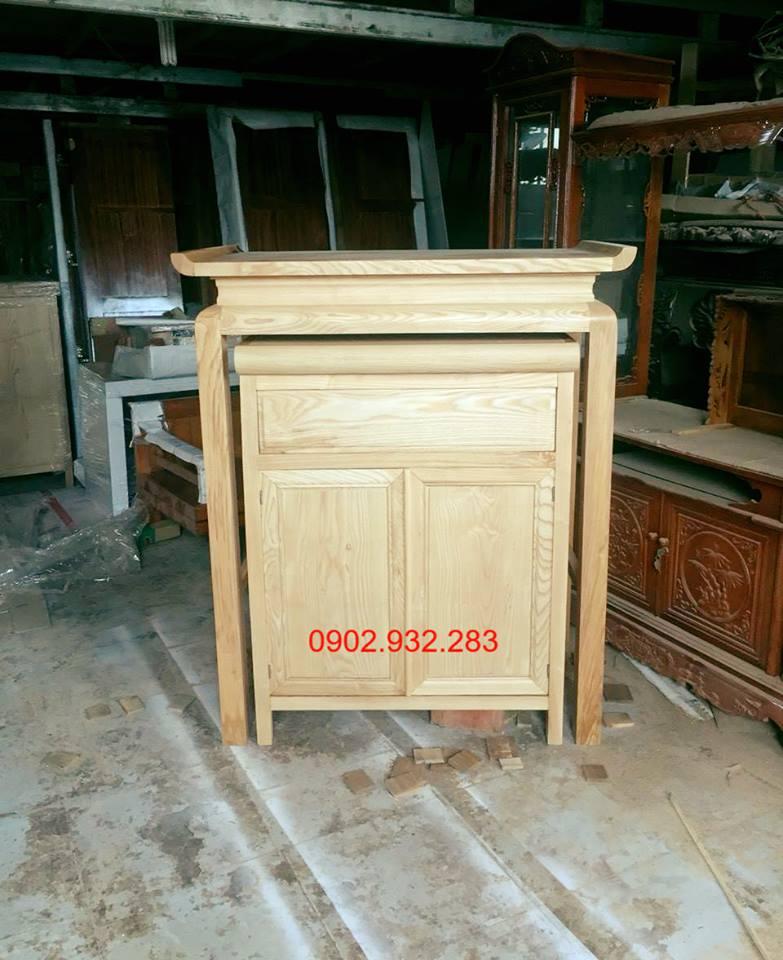 Bộ bàn thờ mẹ con gỗ sồi 1m07 x 1m27 mẫu tủ lớn 10.5