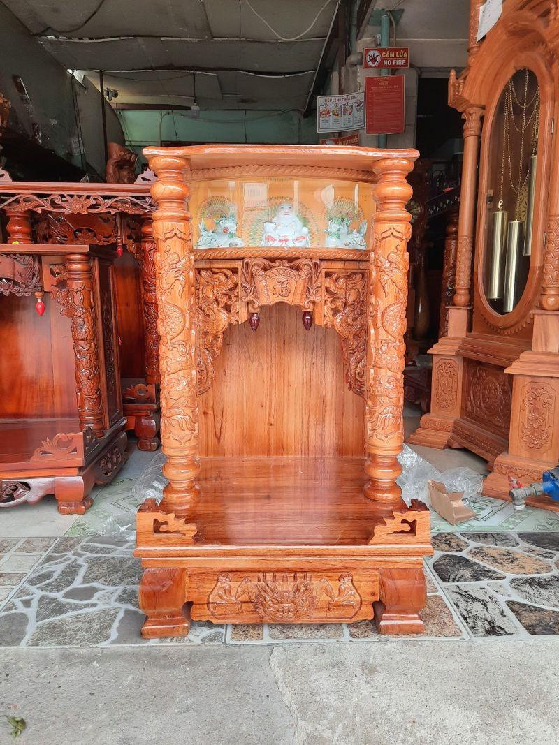 Bàn thờ thần tài ông địa gỗ xoan chân quỳ 48 x81