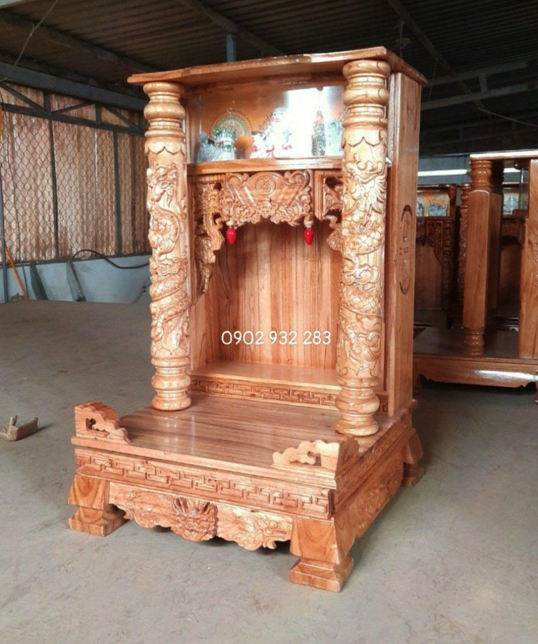 Bàn thờ ông địa gỗ xoan 60 x 98