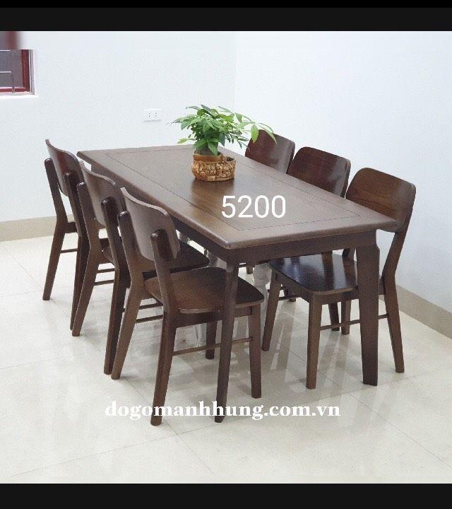 Bộ bàn ăn 6 ghế gỗ sồi màu óc chó bàn 80 x 1,6m MS 7.9