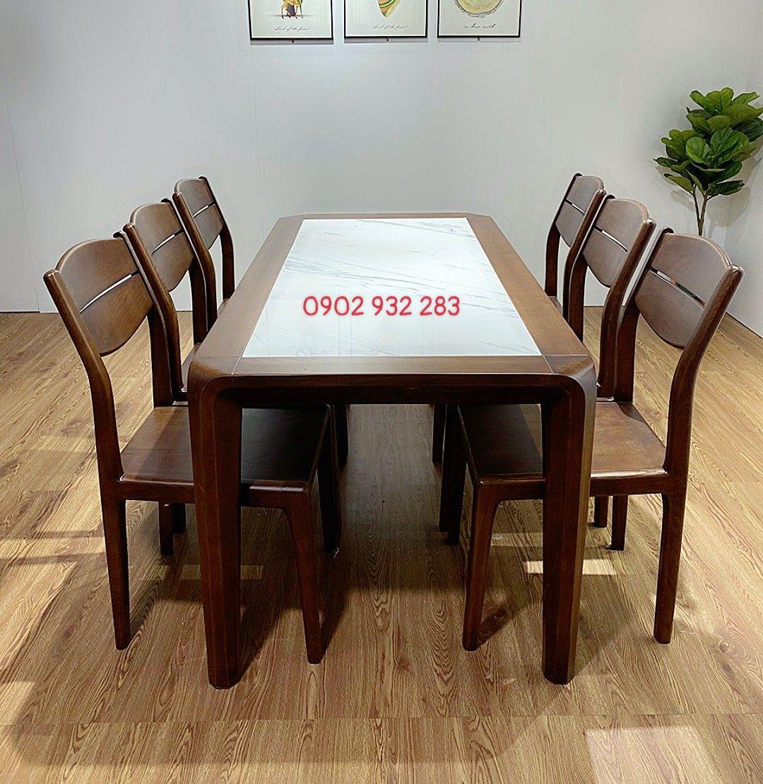 Bộ bàn ăn gỗ sồi mặt đá bàn 160 x 80 MS A87