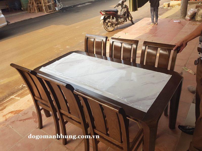 Bộ bàn ăn mặt đá trắng ghế lưng cong bàn 160 x 80 MS 9.7