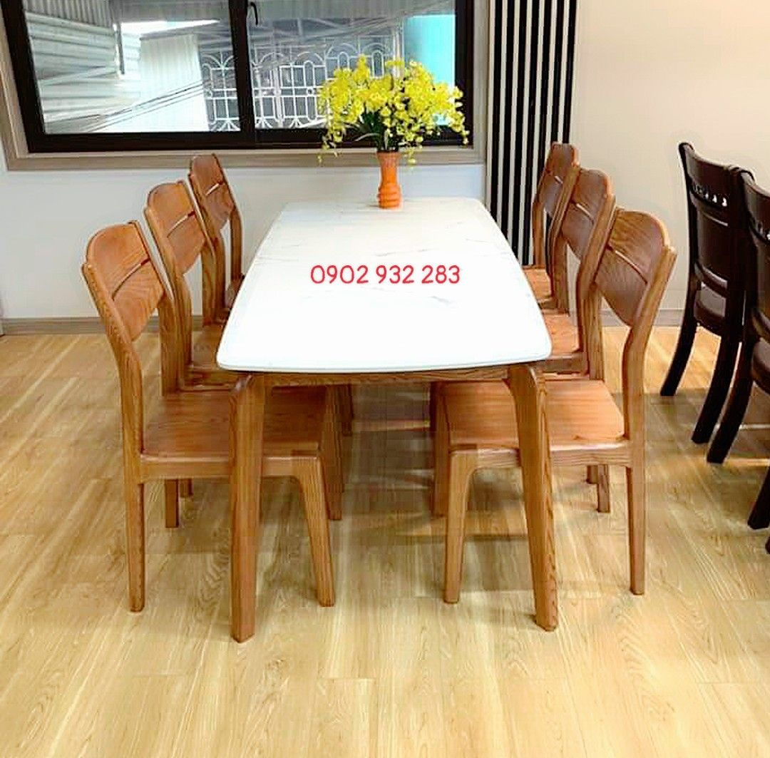 Bộ bàn ăn 6 ghế mặt đá trắng màu hương bàn 160 x 80 MS A88