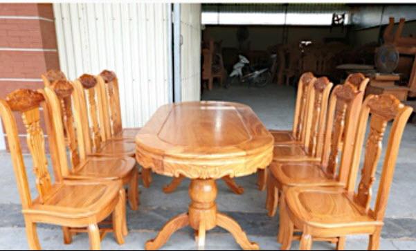 Bộ bàn ăn gỗ gõ đỏ 8 ghế bàn ô van kính thước bàn 90cm x 1m90