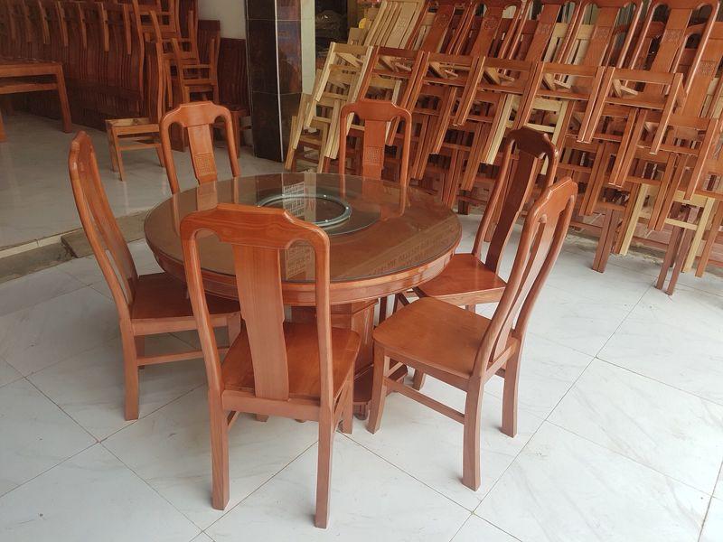 Bộ bàn ăn tròn gỗ sồi 6 ghế màu cánh gián MS 6.5