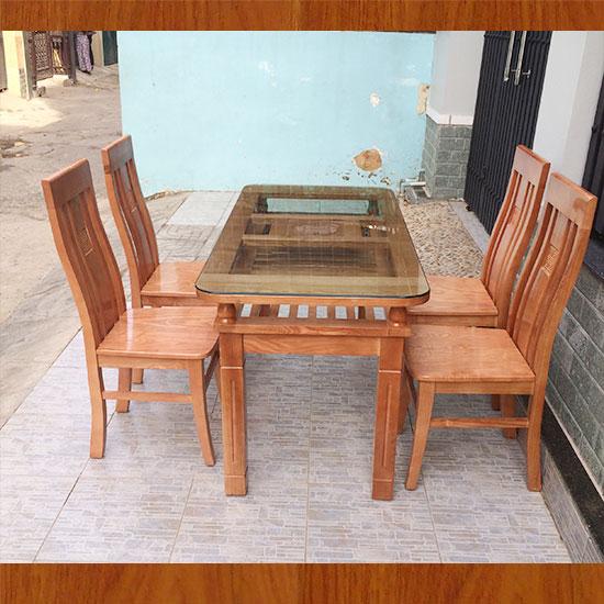 Bộ bàn ăn 4 ghế gỗ sồi , màu cánh gián MS 4.1