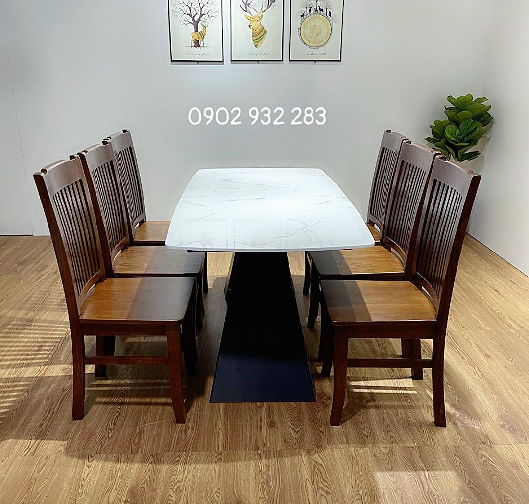 Bộ bàn ăn gỗ sồi 6 ghế mặt bàn đá bàn 160 x 80 Mã 1