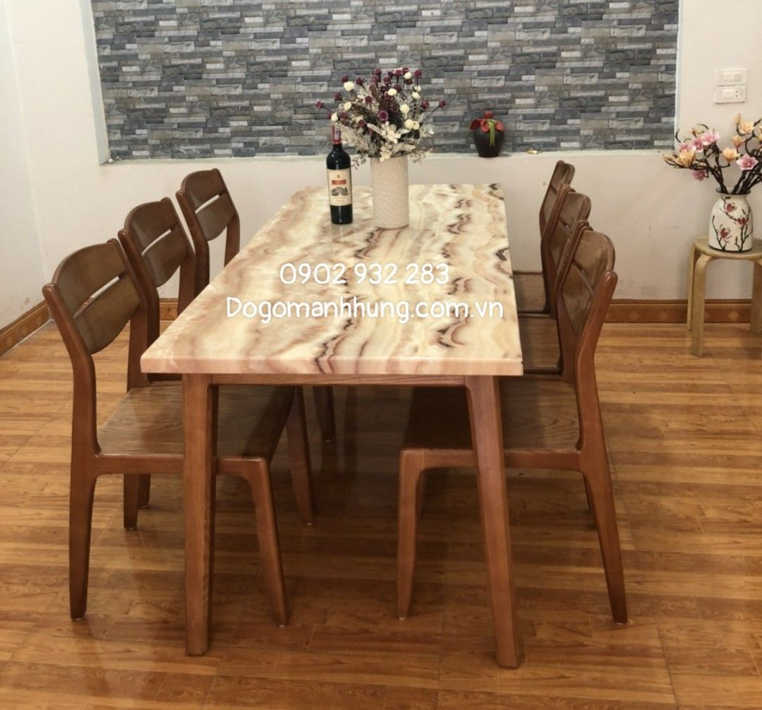 Bộ bàn ăn gỗ sồi mặt đá bàn 160 x 80 A88