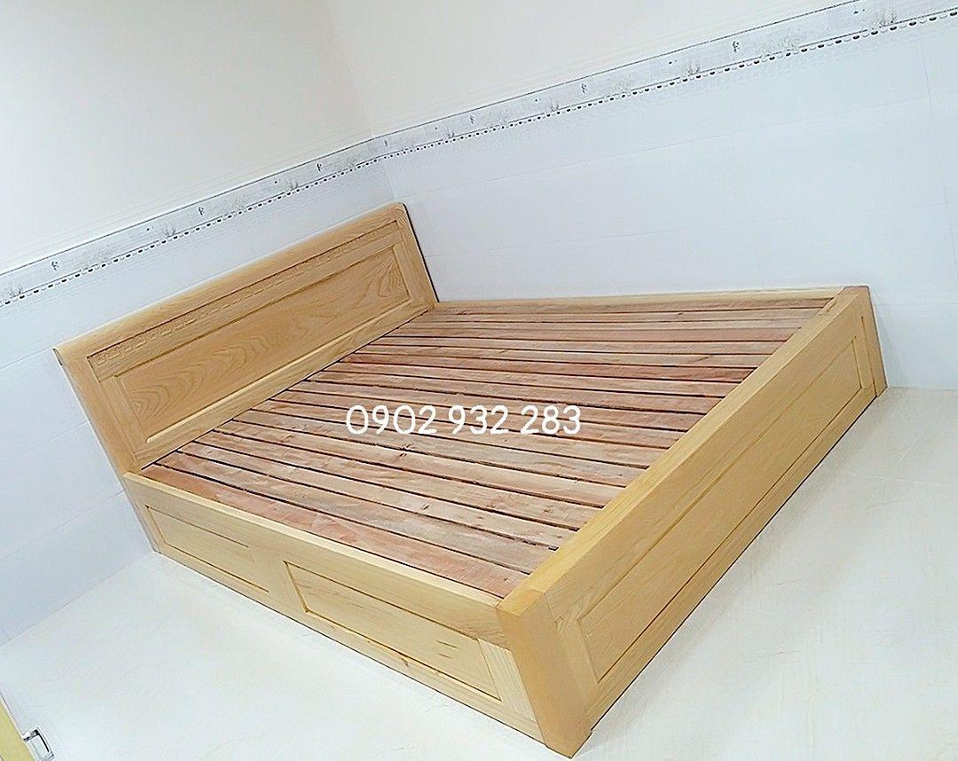 Giường ngủ gỗ kiểu hộp cao 30cm kích thước 1,6m x 2m