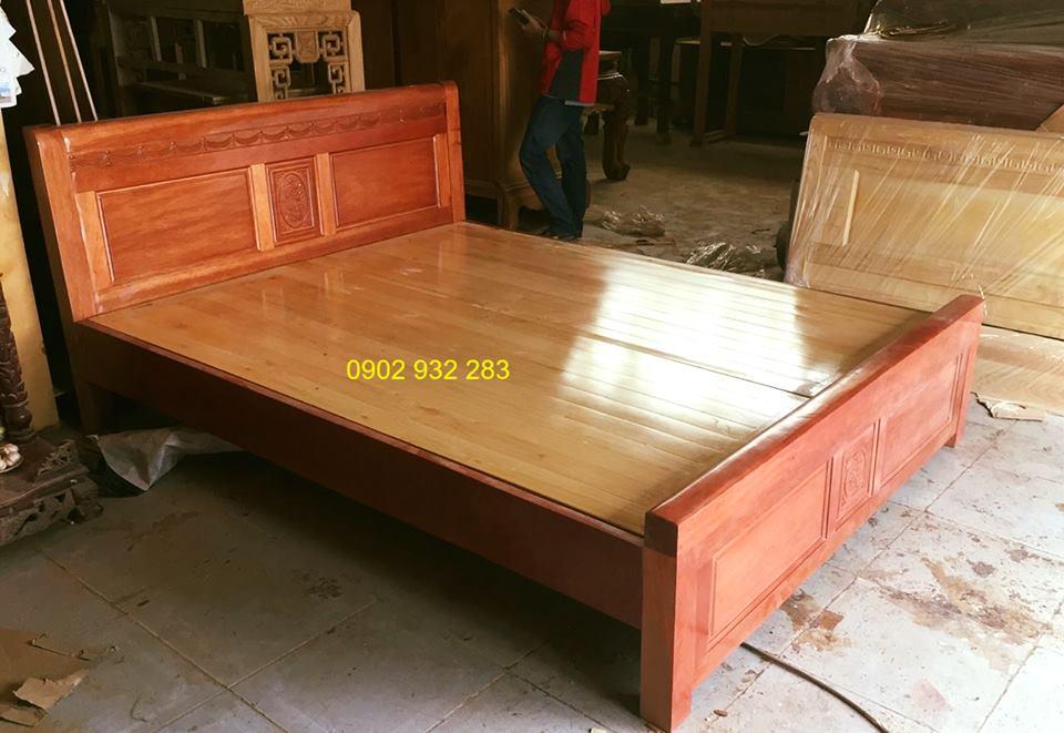Giường gỗ xoan đào dạt phản đẹp 1m8, mẫu sen