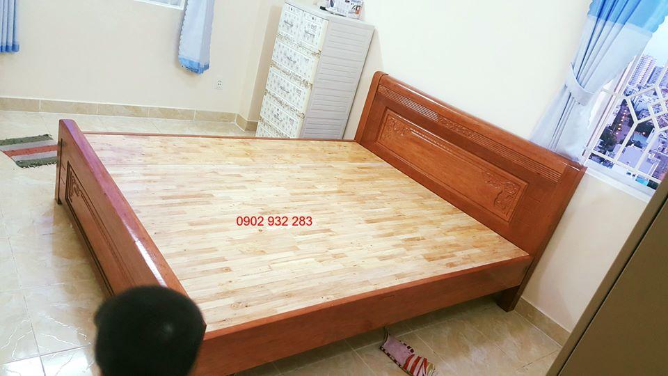 Giường gỗ xoan đào , dạt phản gỗ ghép thanh, mẫu đơn giản kích thước 1m60x2m