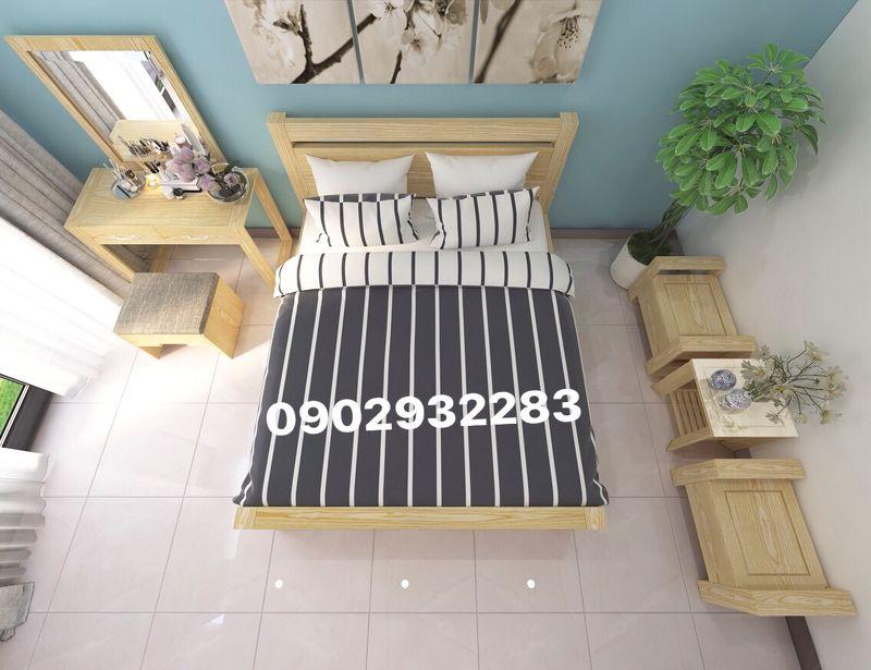 Trọn bộ giường ngủ gỗ sồi mẫu hiện đại ms 8.6