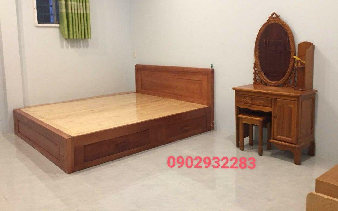 Gường hộc kéo gỗ sồi dạt phản , màu cánh gián 1m6x2m