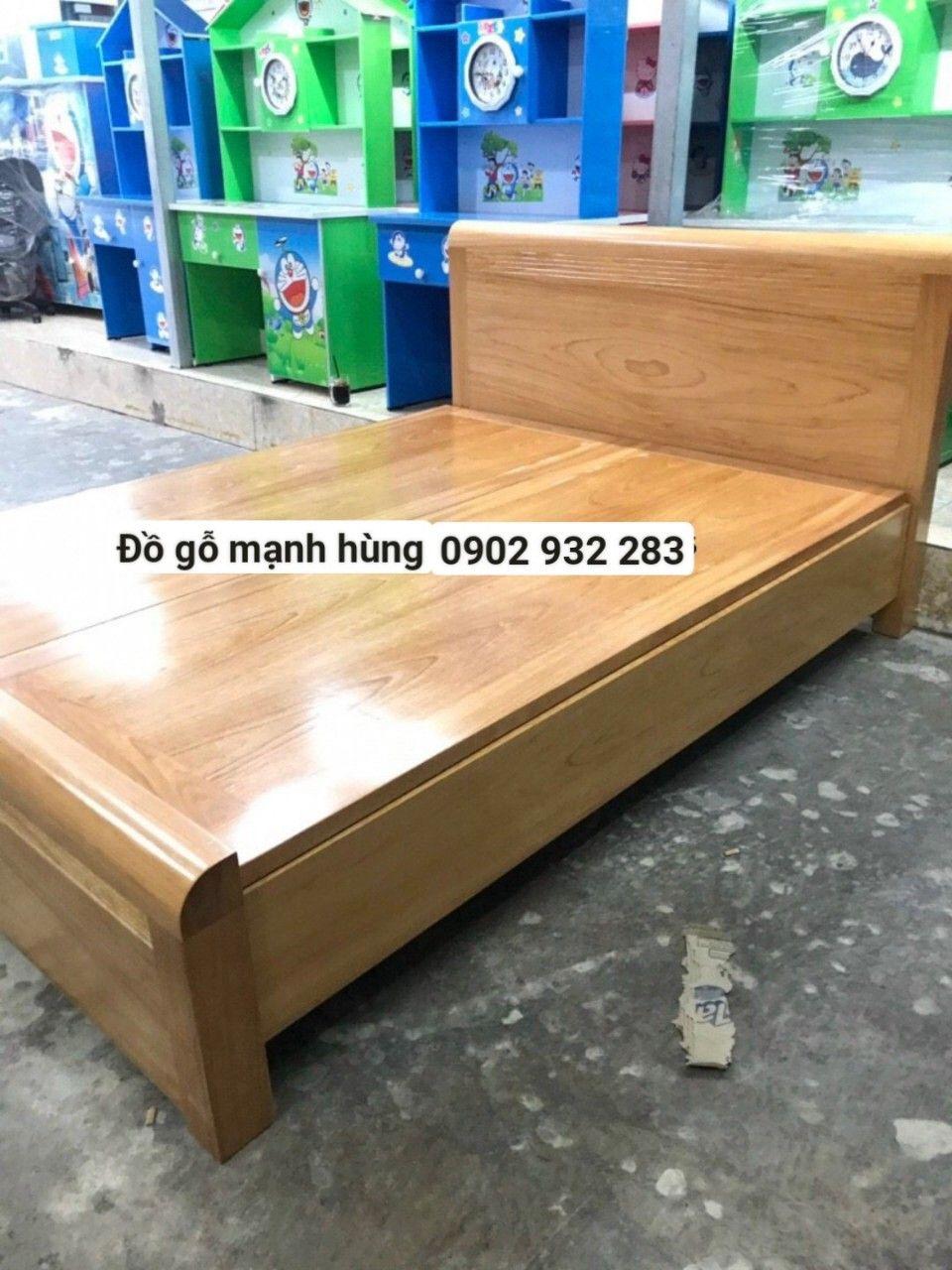 Giường gỗ gõ đỏ mẫu hiện đại 1,6mx2m
