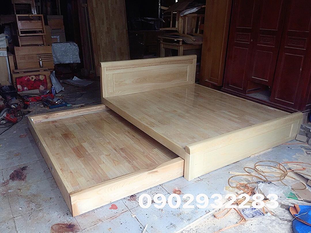 Giường tầng kéo gỗ sồi