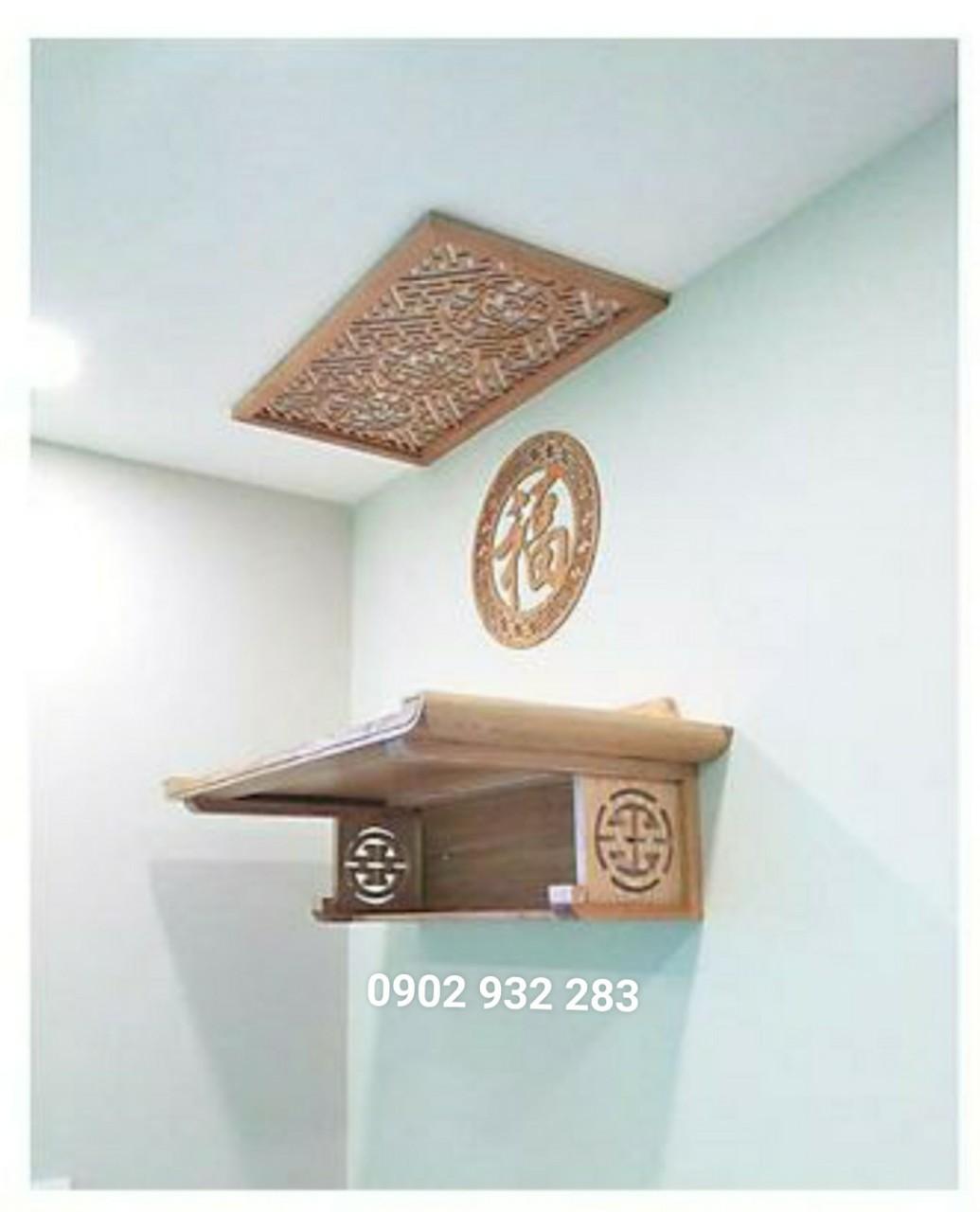 Combo bàn thờ treo tường gỗ sồi ( tặng tấm chống ám khói và chữ phúc tròn ) Sâu 41cm Ngang 61cm Cao 26 cm