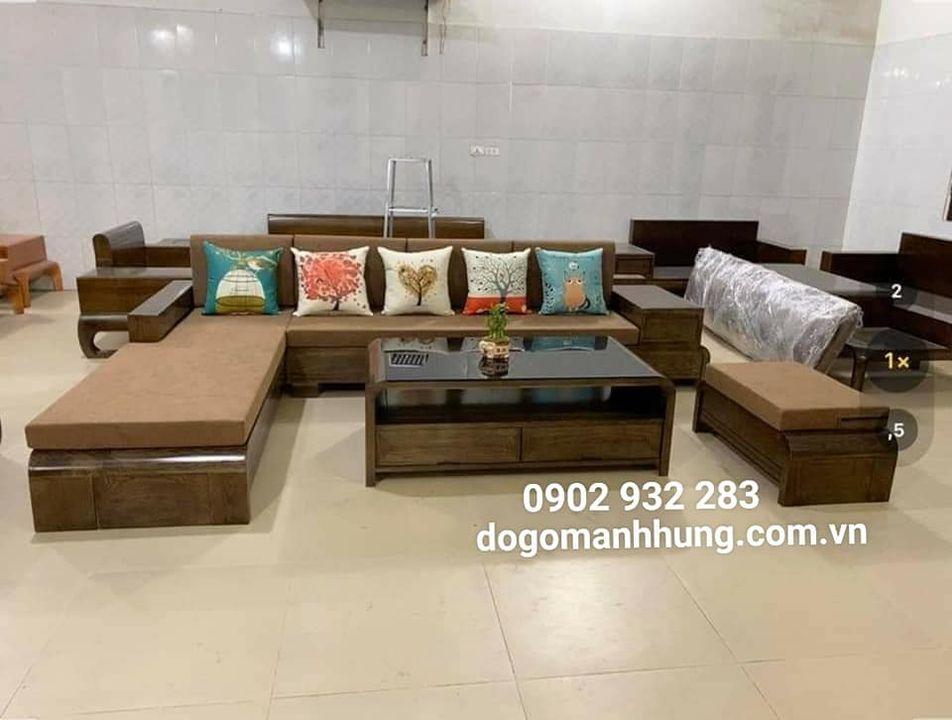 Bộ sofa góc gỗ sồi màu [ có nệm]