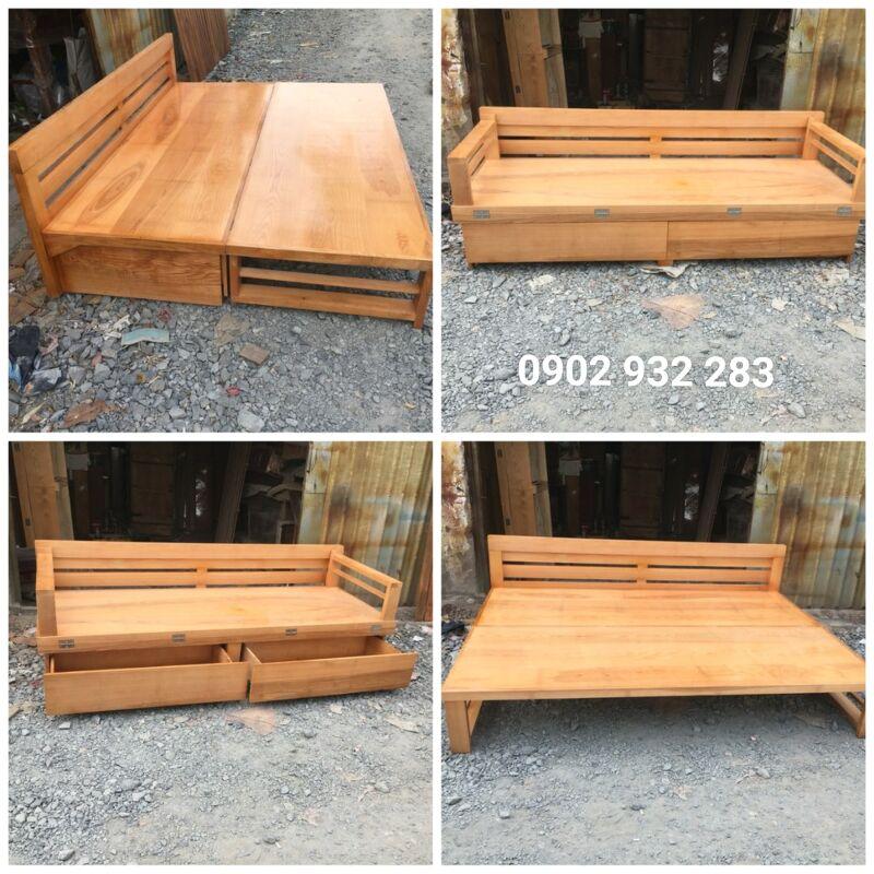 Sofa giường gỗ sồi 1.2m x 2m