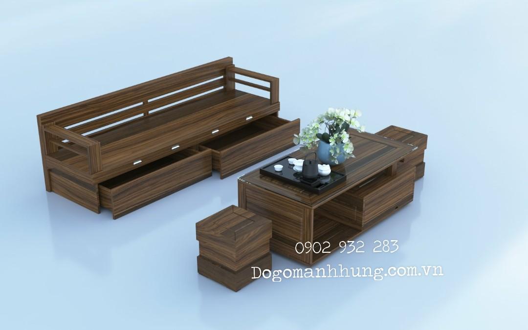 Bộ bàn ghế sofa giường gỗ sồi mặt liền màu óc chó