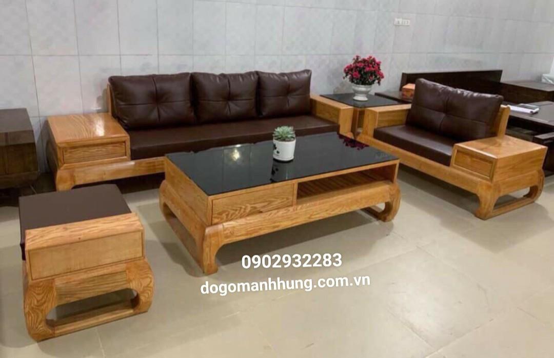 Sofa góc gỗ sồi mầu óc chó mẫu hiện đại MS 14.9