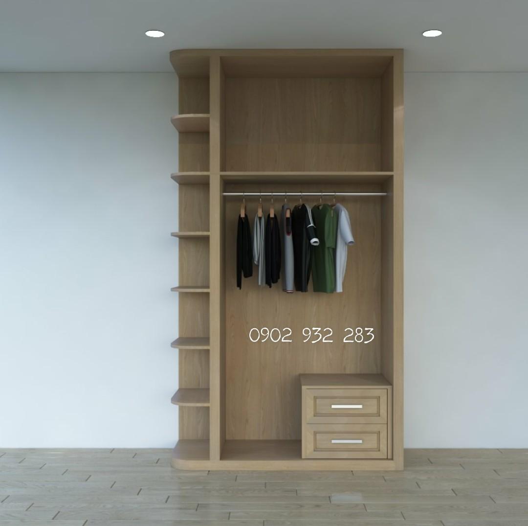 Tủ quần áo gỗ tự nhiên 1.1m x 2,6m
