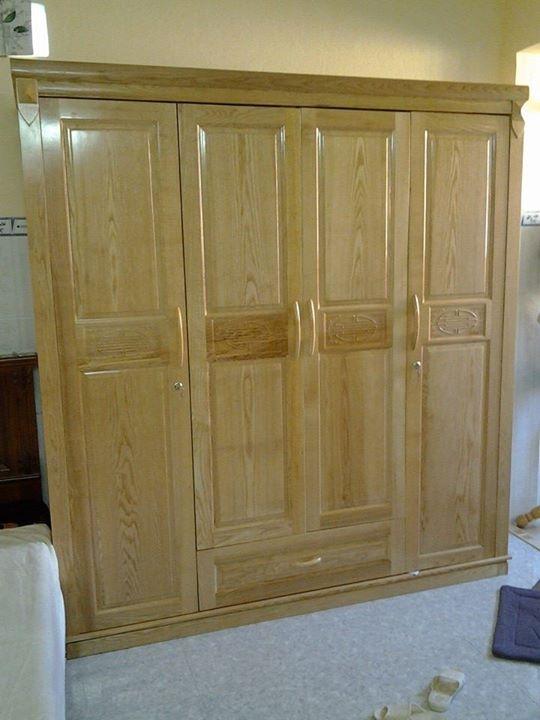 Tủ áo 4 cánh gỗ sồi cánh (mẫu đai giữa)