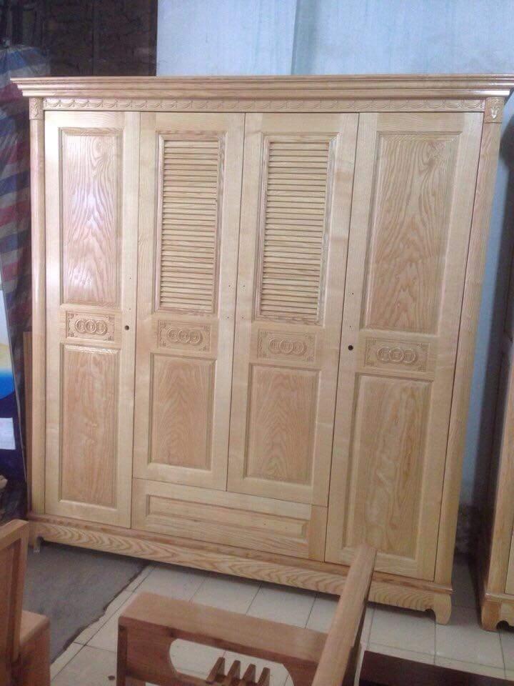 Tủ áo 4 cánh gỗ sồi cánh chớp trên