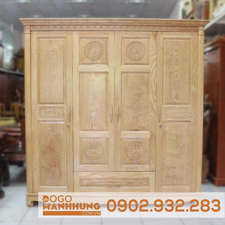 Tủ quần áo gỗ sồi 4 cánh s04