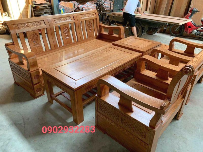 Bộ salon gỗ sồi 7 món mặt liền MS 12.6